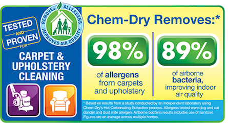 A1 Chem-Dry removes 98% of allergens and 89% of airborne bacteria, improving indoor air quality in Marlboro NJ